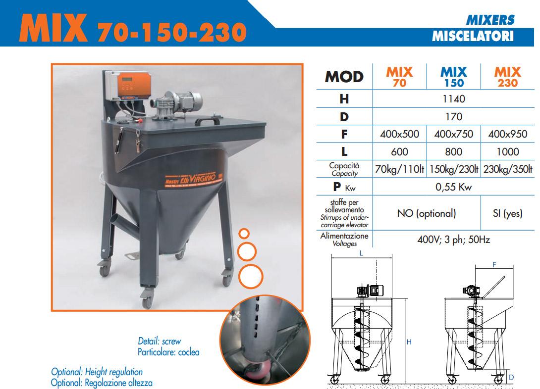 Вертикальный миксер для гранулы шнековый MIX 70