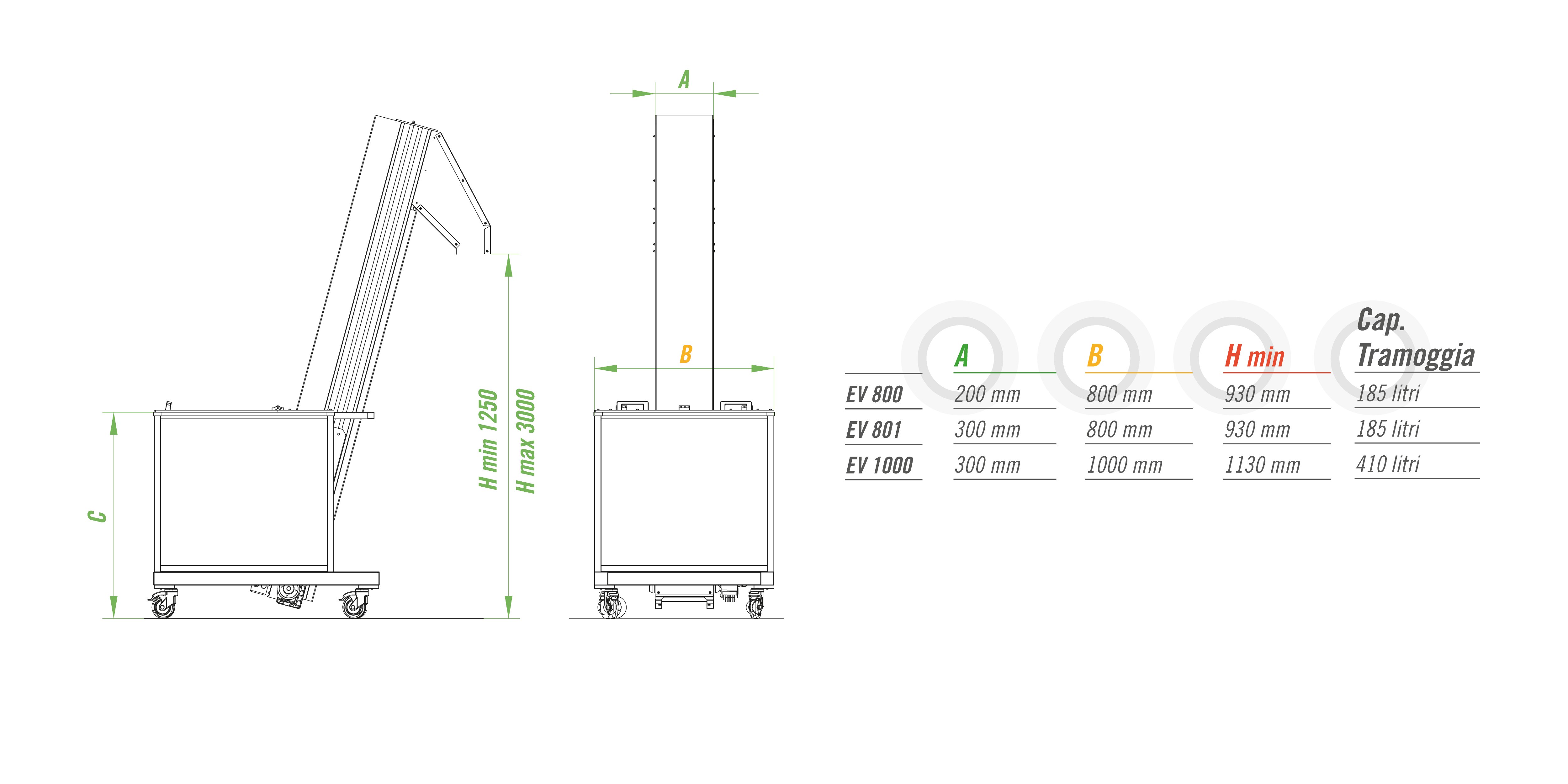 Конвейер (элеватор) Mb Conveyors серии EV 800 - EV 1000