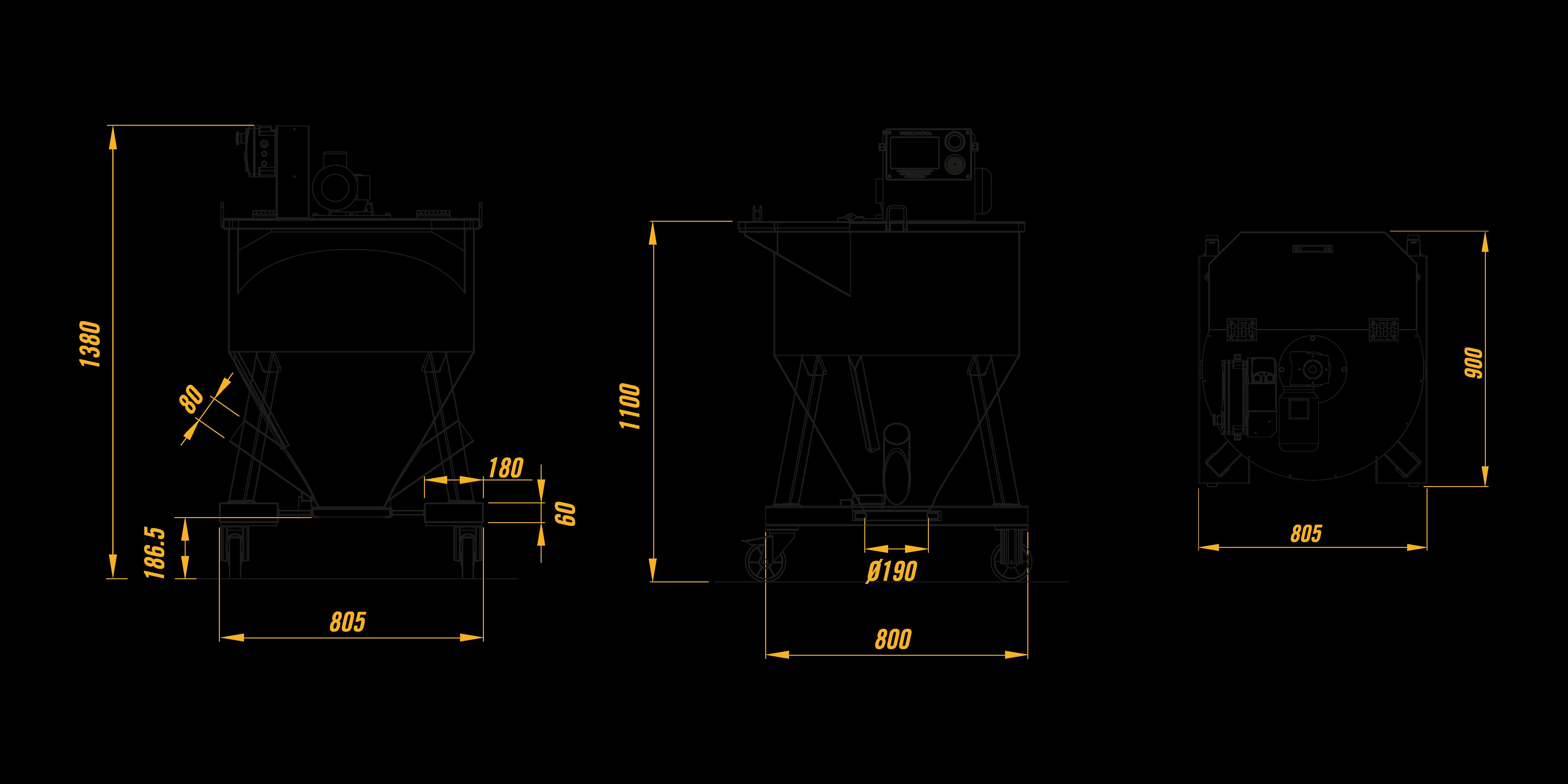 Смеситель Mb Conveyors вертикальный серии MI 1